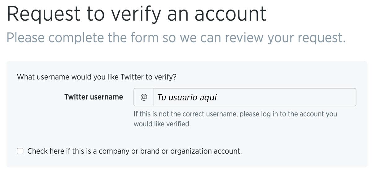 Verificación de cuenta de Twitter