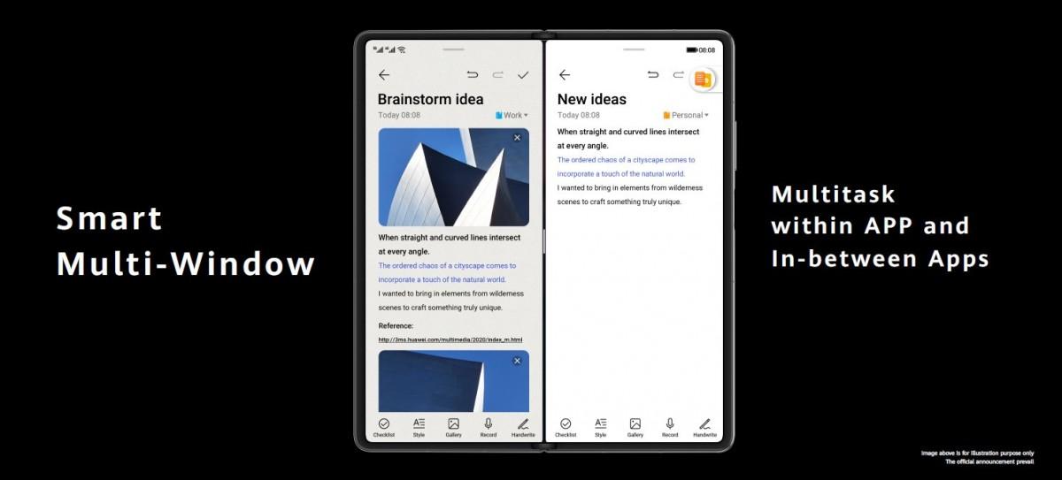 El Huawei Mate X2 está optimizado para el multitasking entre apps, incluyendo múltiples ventanas de una misma app
