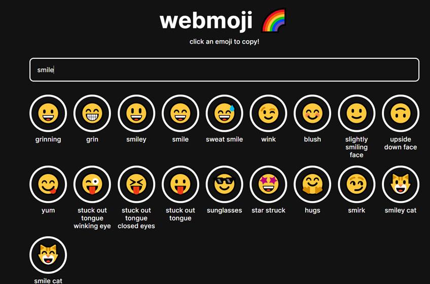 Encuentra el emoji perfecto en Webmoji