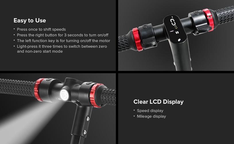 Kugoo S1 Plus - Pantalla LCD y luz frontal