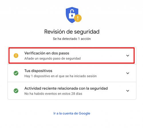 Google Verificación dos pasos