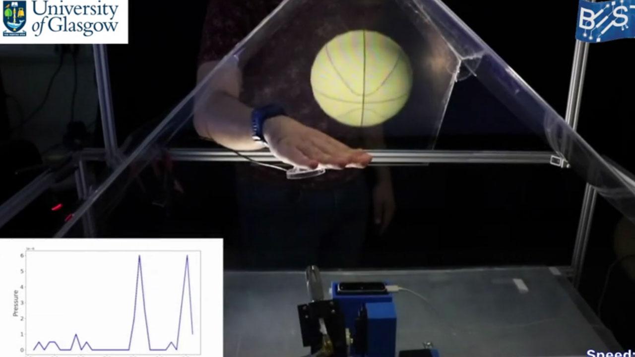 Holograma táctil de la universidad de Glasgow