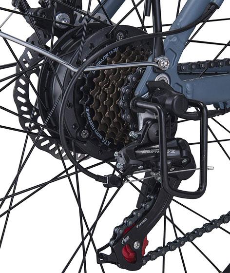Motor de 250W y sistema de transmisión Shimano de 21 velocidades