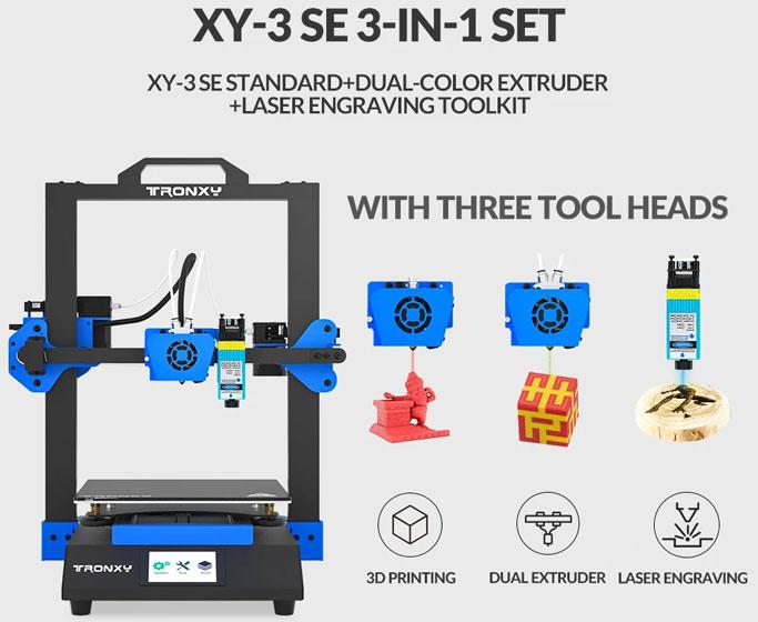 Tronxy XY-3 SE - Módulos de grabado láser y extrusor dual