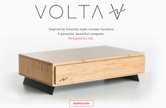 Volta V, un potente sobremesa de madera.